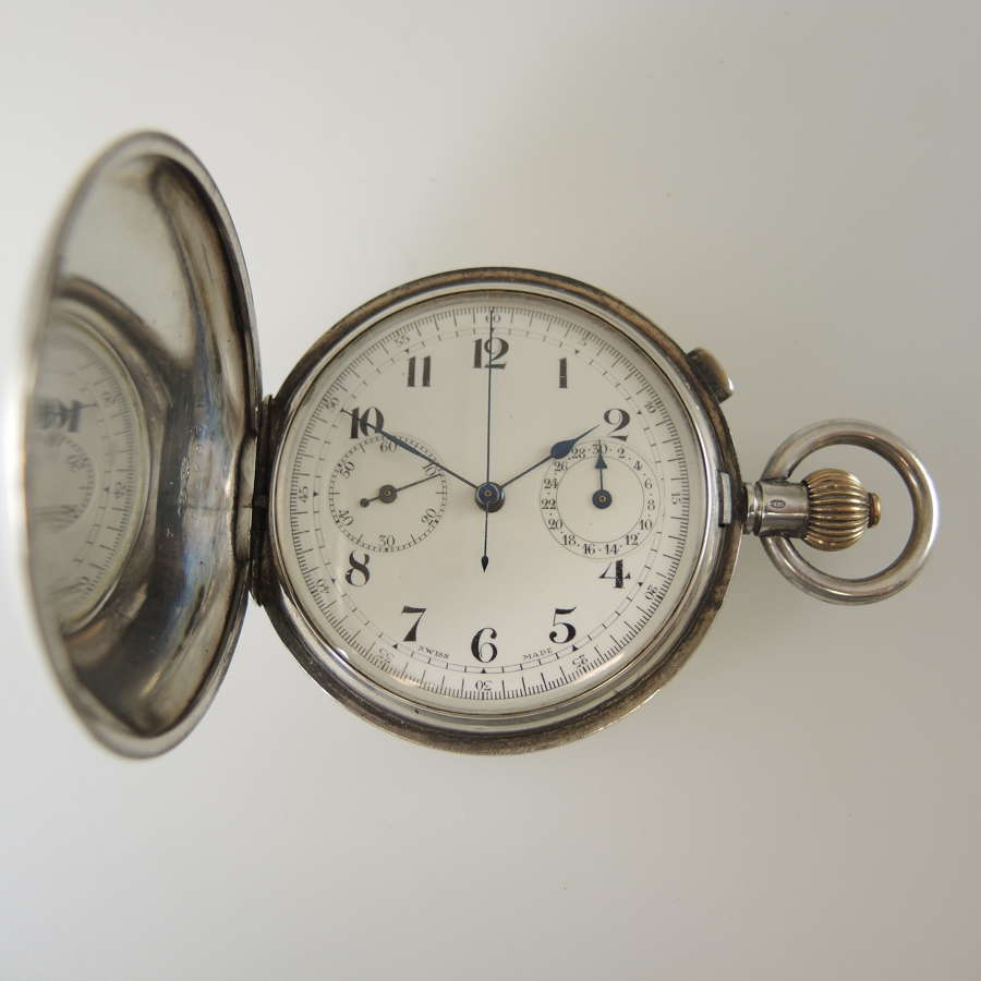 Silver full hunter chronograph pocket watch w/30 minute register c1910