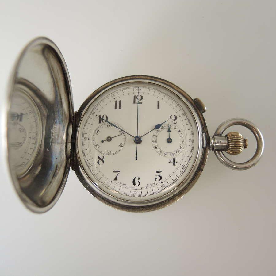 Silver full hunter chronograph pocket watch w/30 minute register c1910