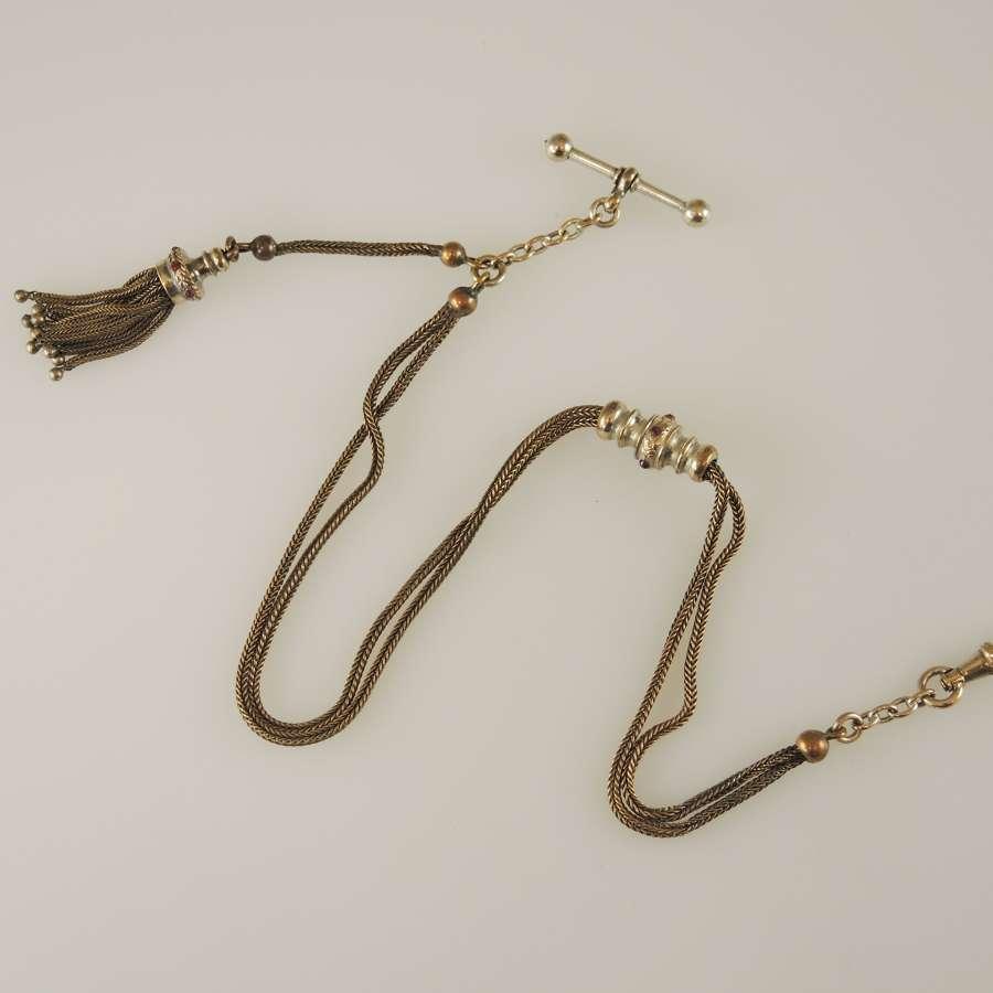 Beautiful stone set gilt metal pocket watch chain. Albertina c1850