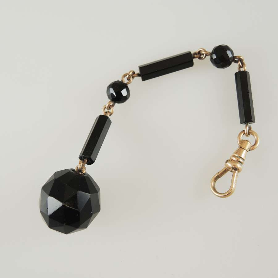 Whitby jet. Mourning watch chain c1880