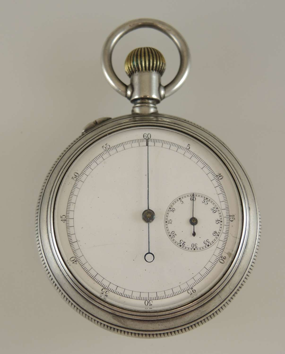 Rare double sided chronograph. Silver case c1890