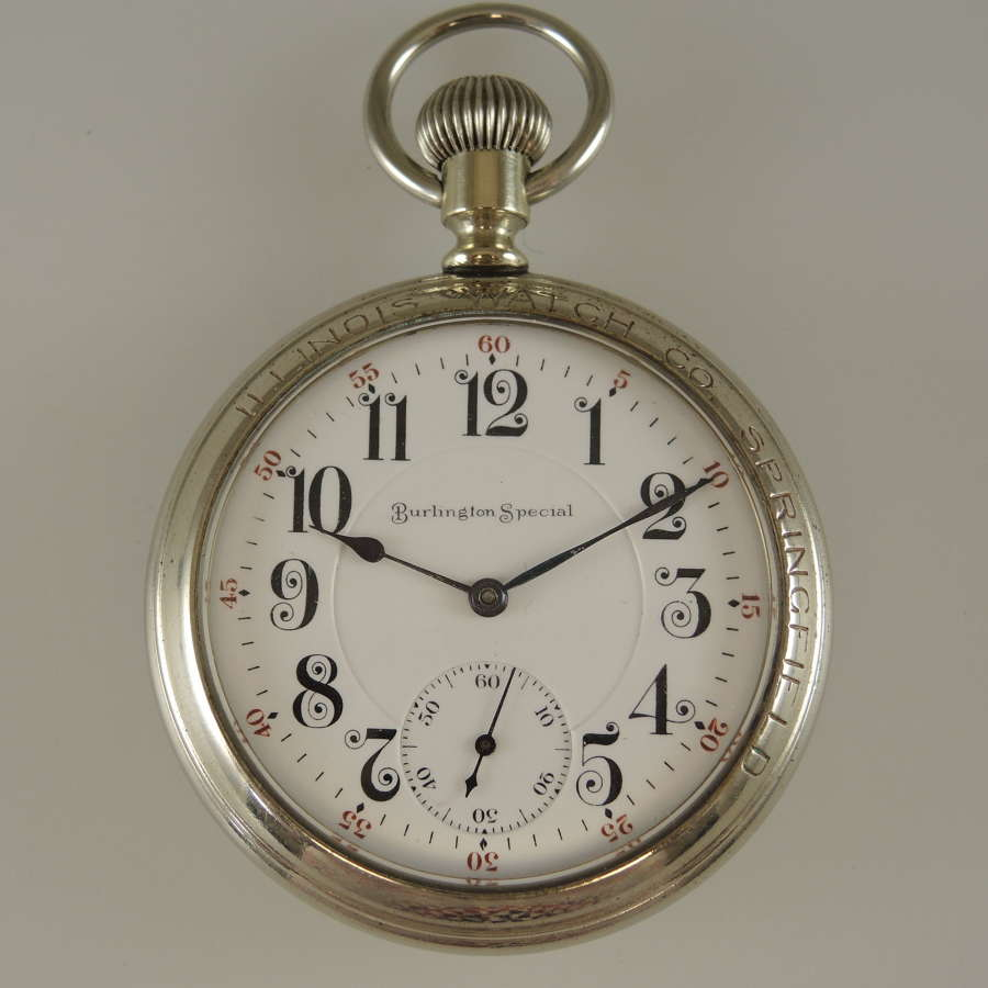Rare 16s Two Tone 21J Burlington Watch Co in a display case c1907
