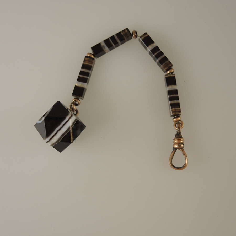 Beautiful BANDED AGATE pocket watch chain with fob c1880