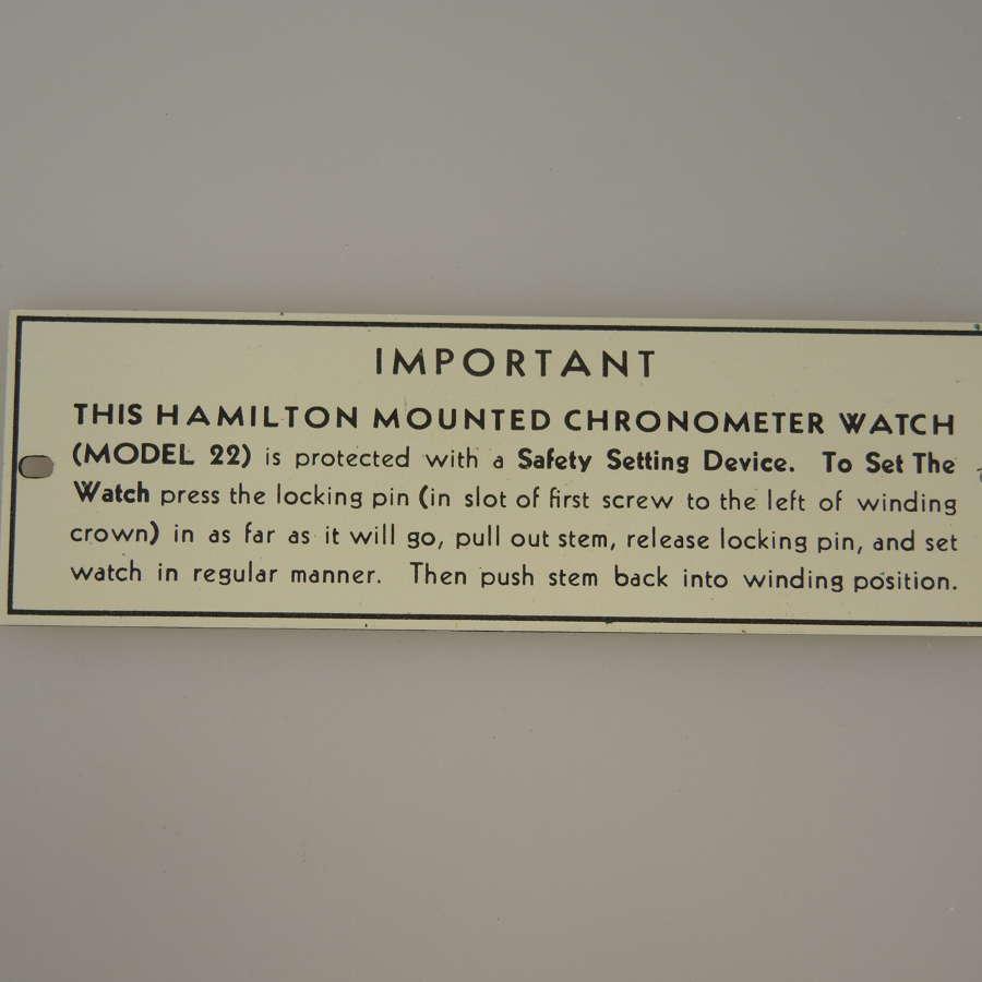 HAMILTON Chronometer Model 22 label c1940