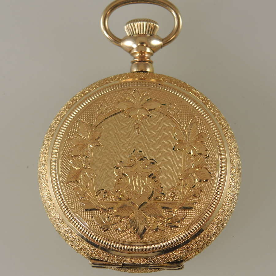 Beautiful gold plated ladies hunter style fob watch c1907