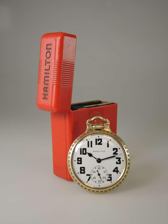 16s 21 Jewel Hamilton 992B Railroad Pocket Watch w/ rare RED Box c1944