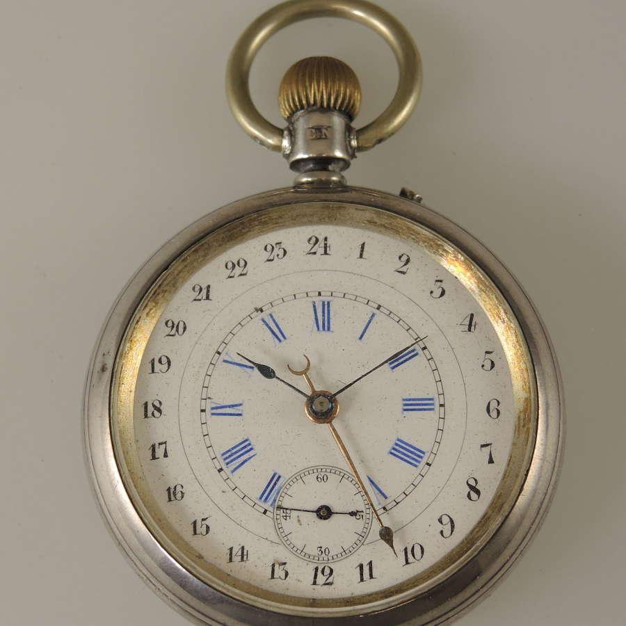 Rare 24 Hour dial Pocket watch c1884