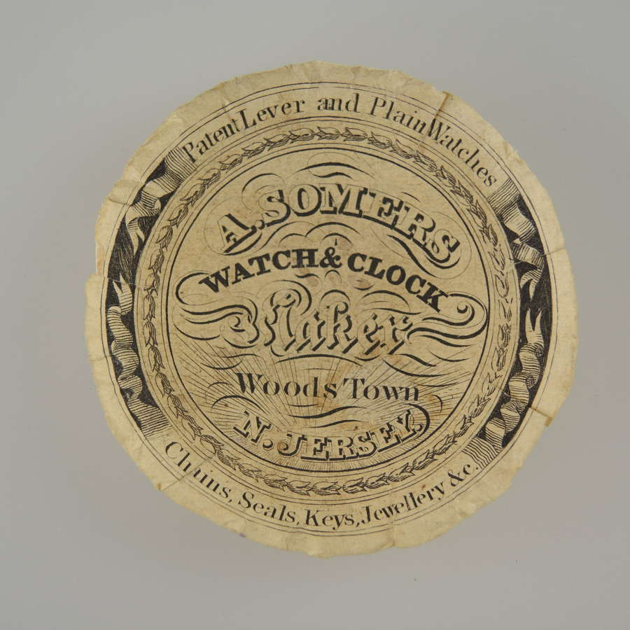 American Advertising watch paper, Woods Town NJ c1850