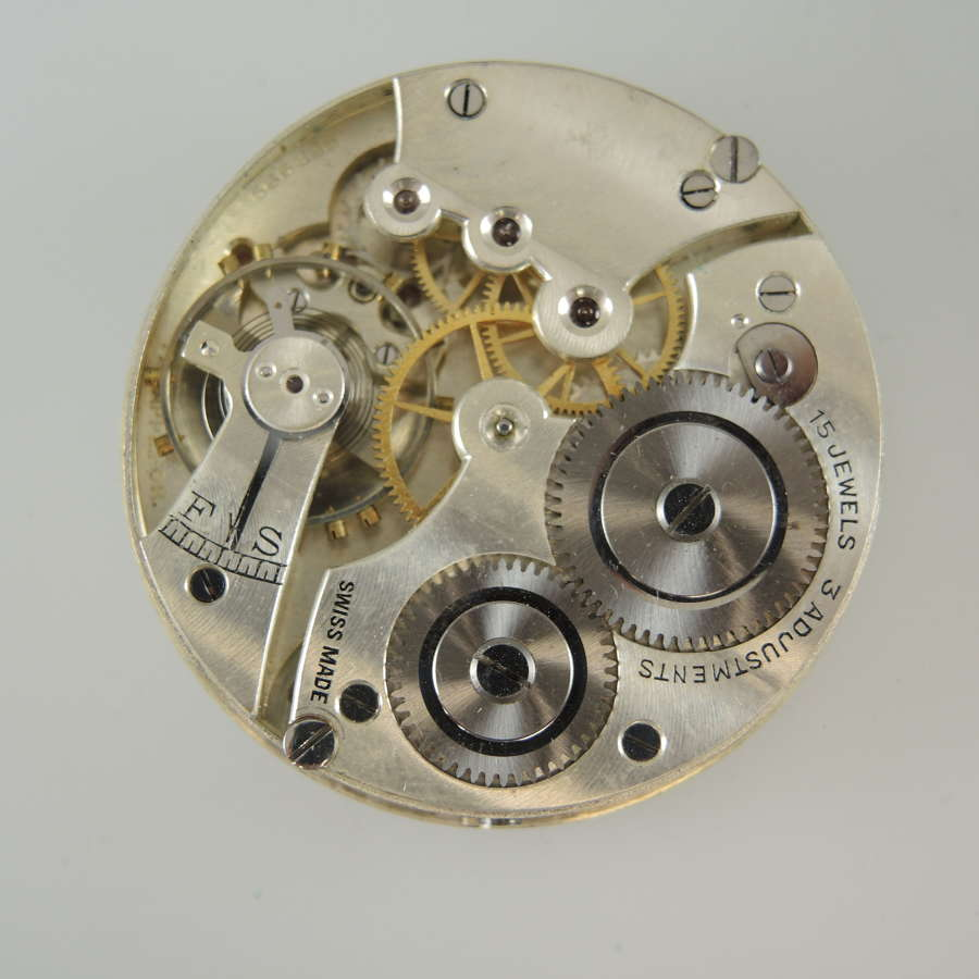 Clean 15J Swiss open face pocket watch movement c1920
