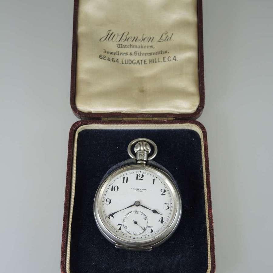 English Silver J W Benson pocket watch with original box c1933