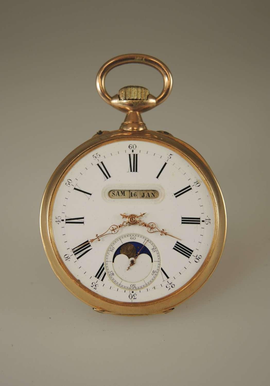18K gold moon-phase calendar pocket watch c1890