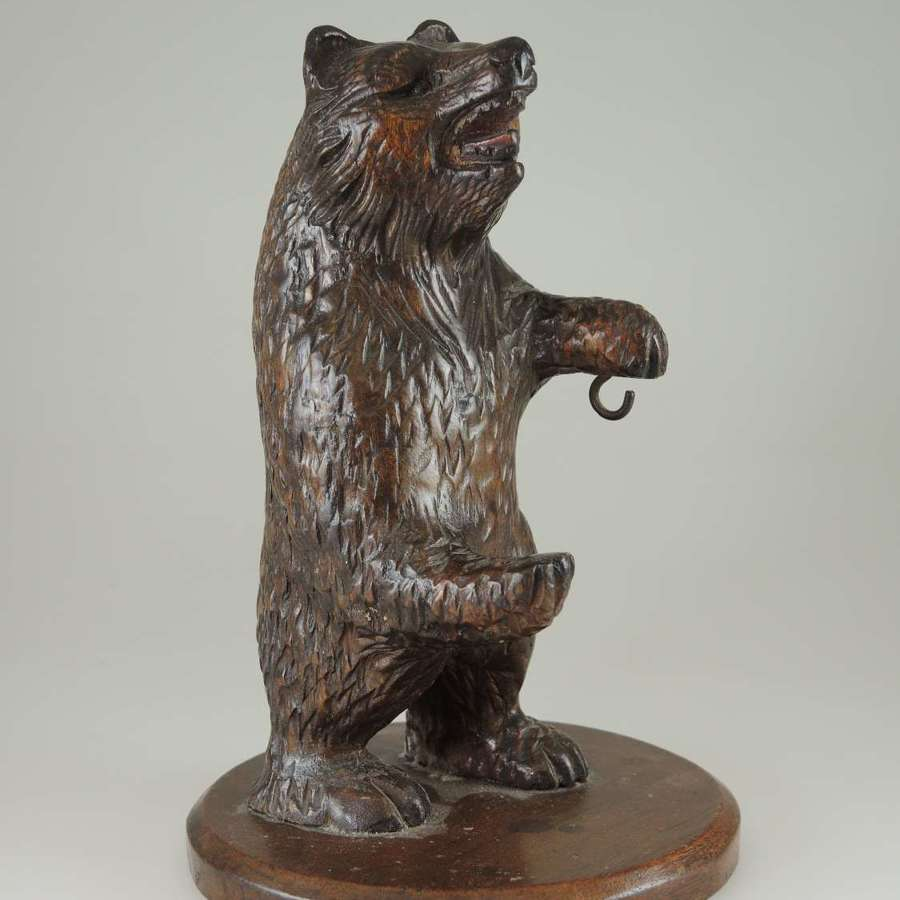 Black forest carved bear pocket watch stand c1890