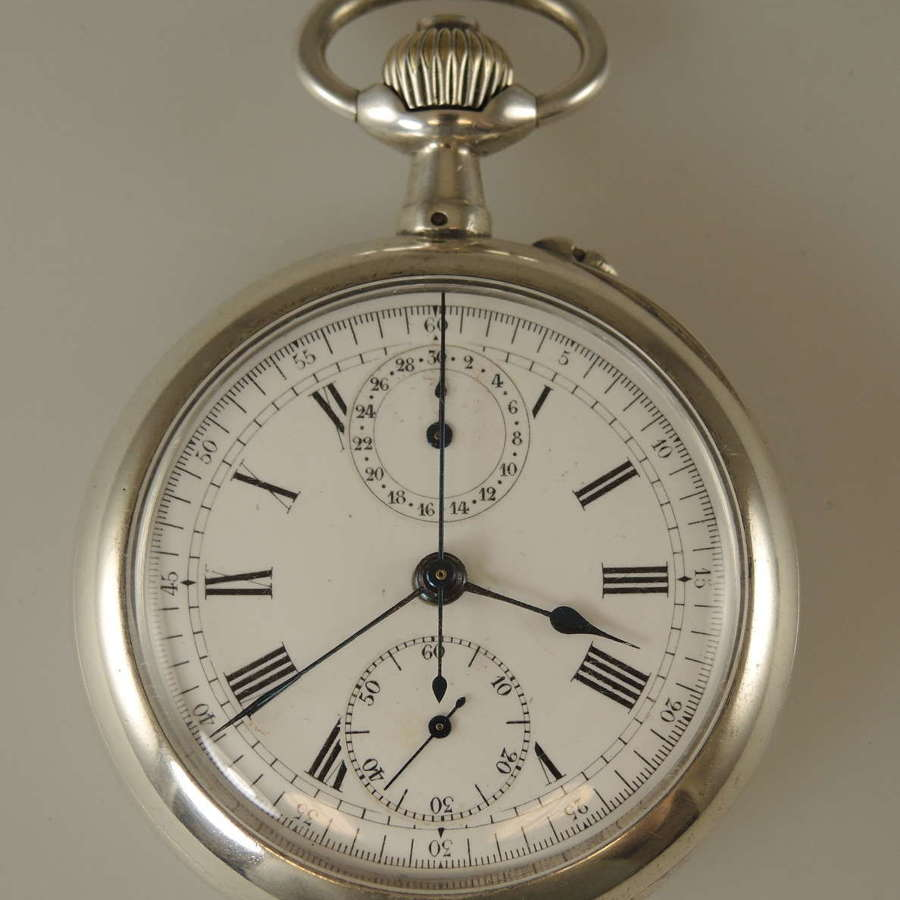 Top Quality Silver Chronograph pocket watch c1890