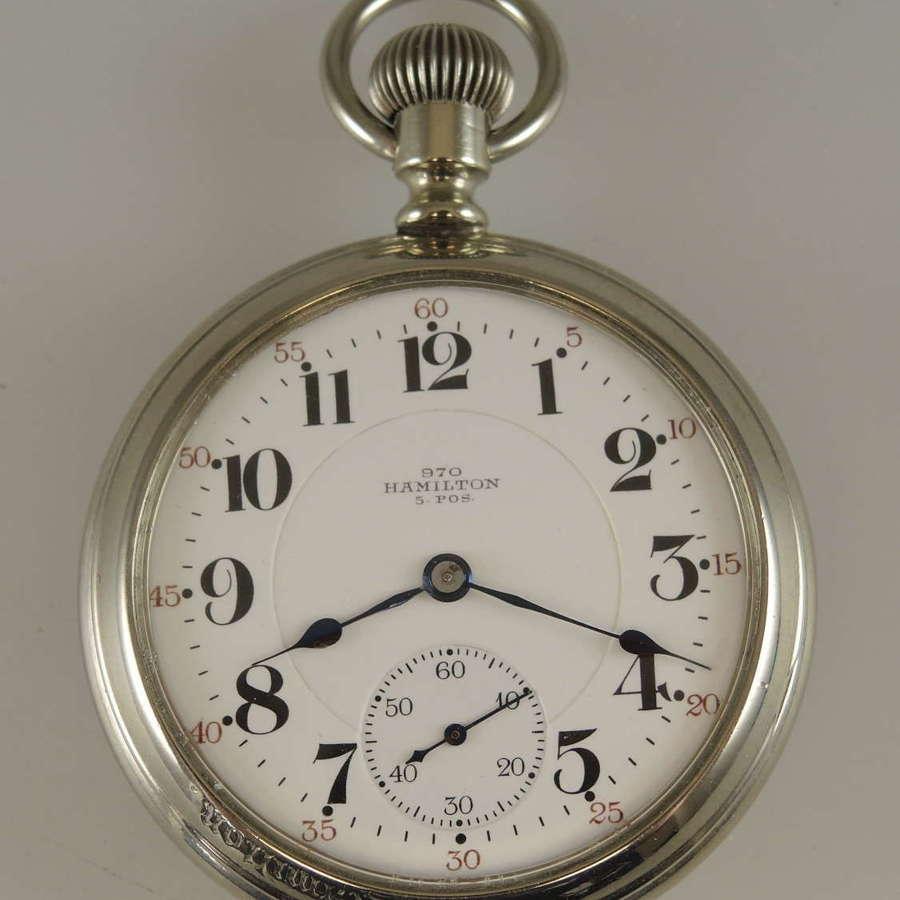 16s 21J Hamilton pocket watch with rare marked 970 dial c1907