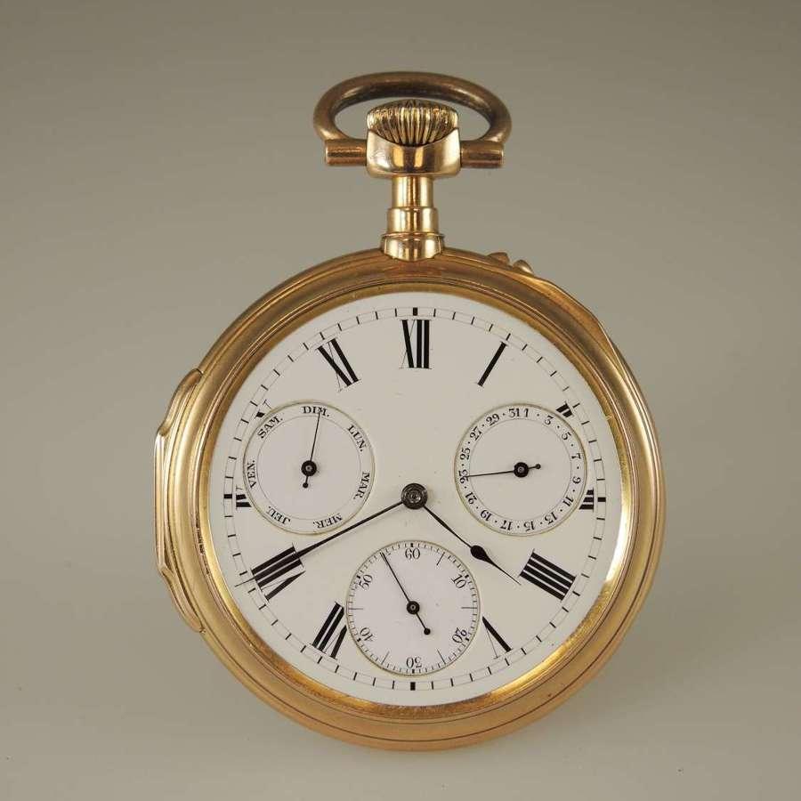 Solid 18K Gold Half Chronometer day date calendar pocket watch c1880