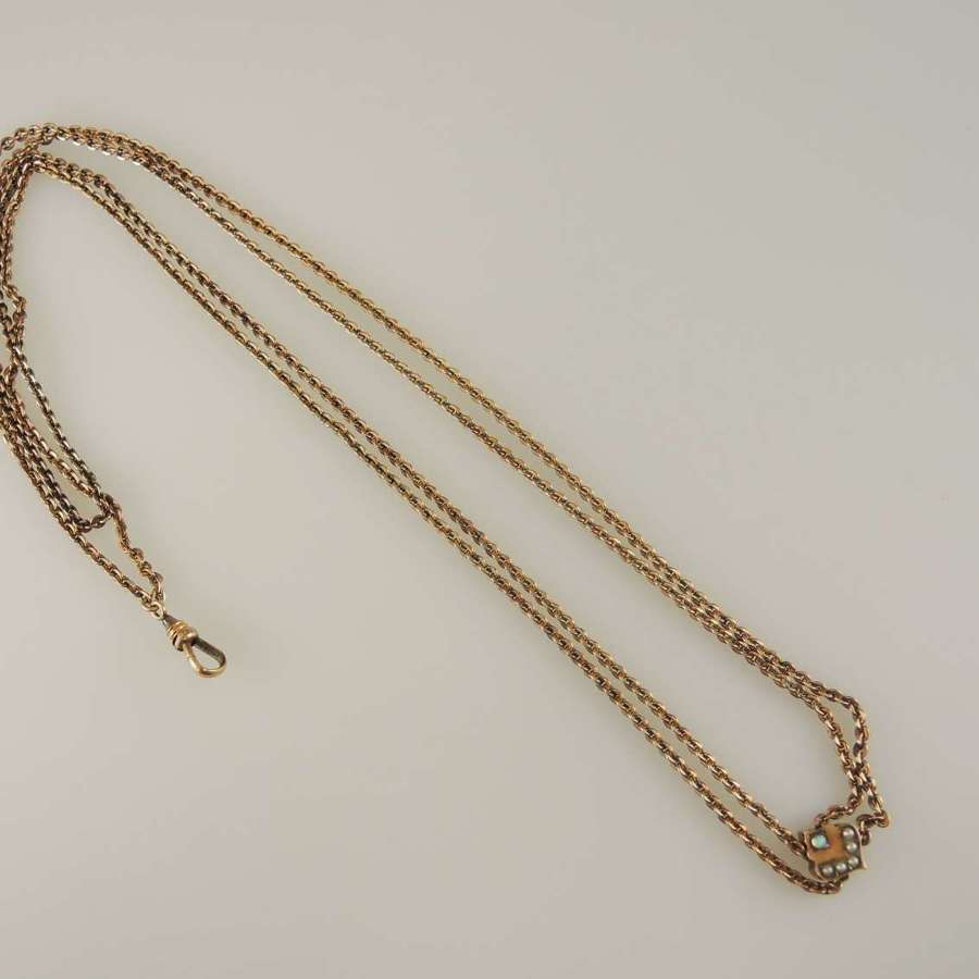 Victorian gold plated long guard chain with stone set slide c1890