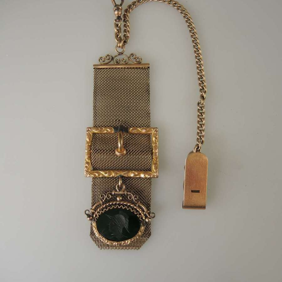Gold plated watch strap and fob with patent clasp c1890