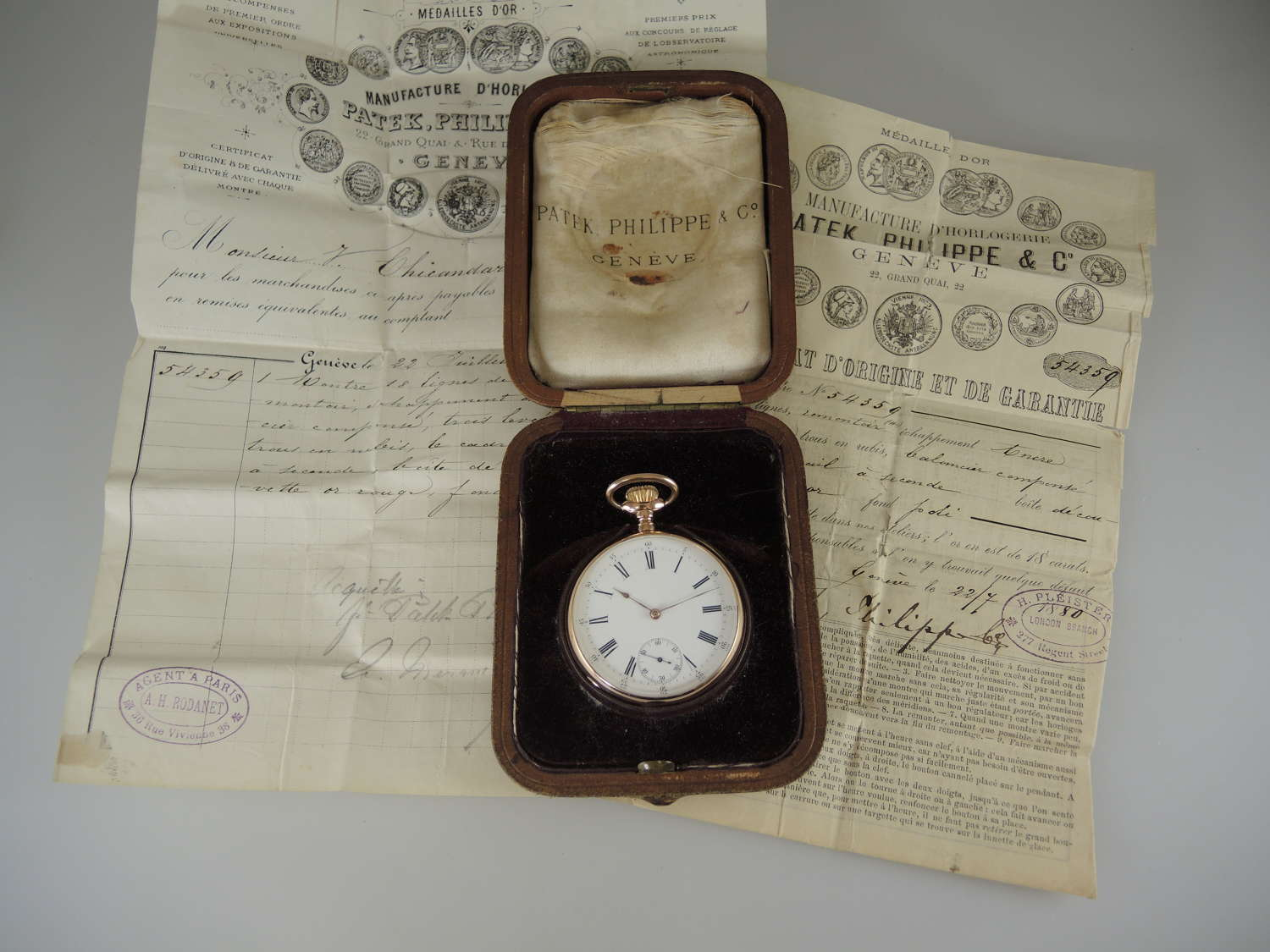 18K Patek Philippe pocket watch with Original box and papers c1880
