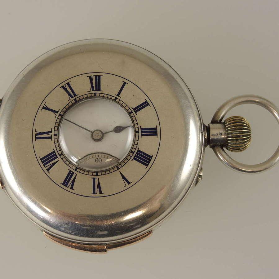 Silver Half hunter quarter repeater pocket watch c1890