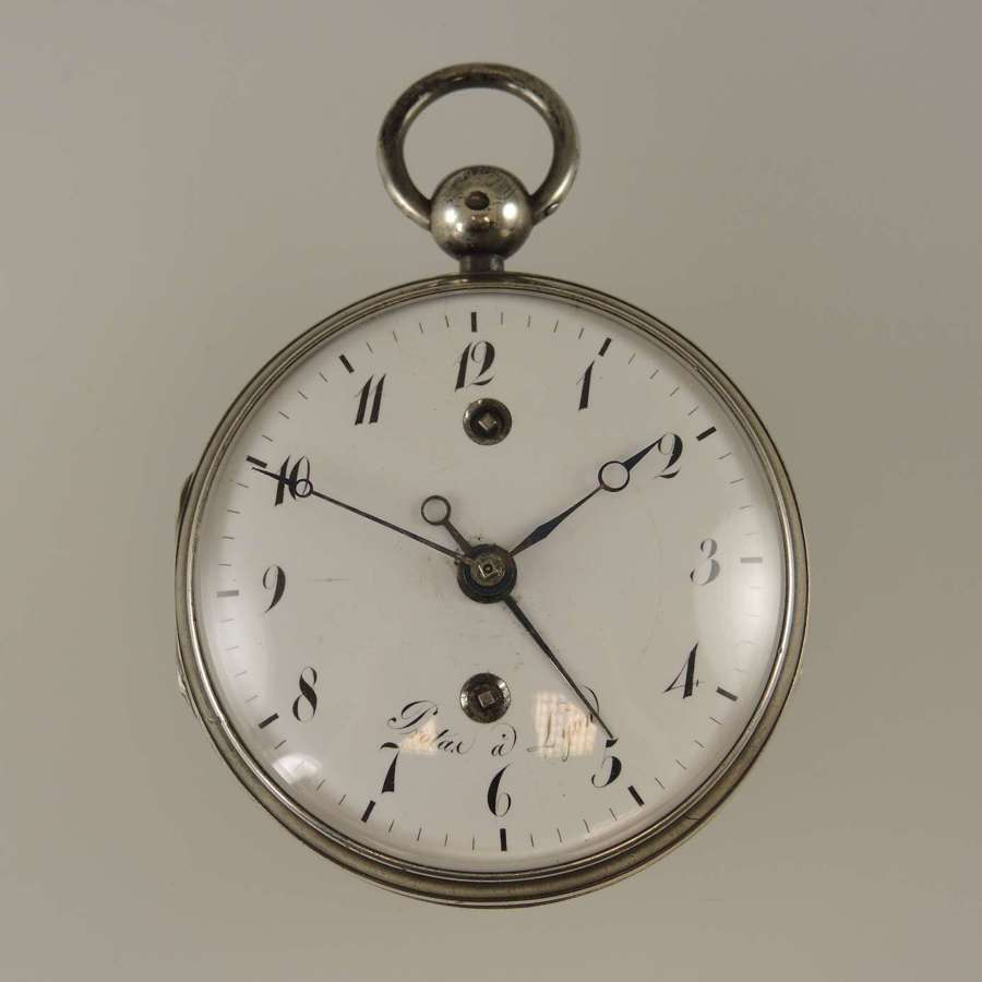 Silver French verge with alarm function by Protas Lyon c1810