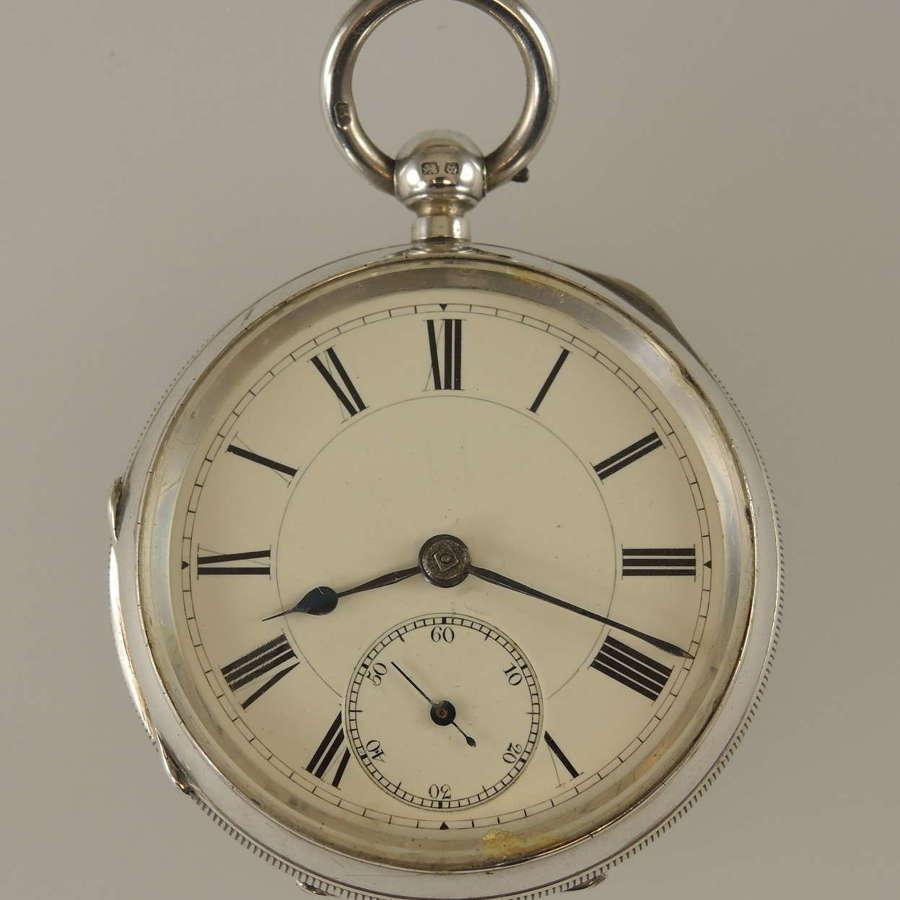 Victorian English silver key wound pocket watch. Hird, Ulverston c1892