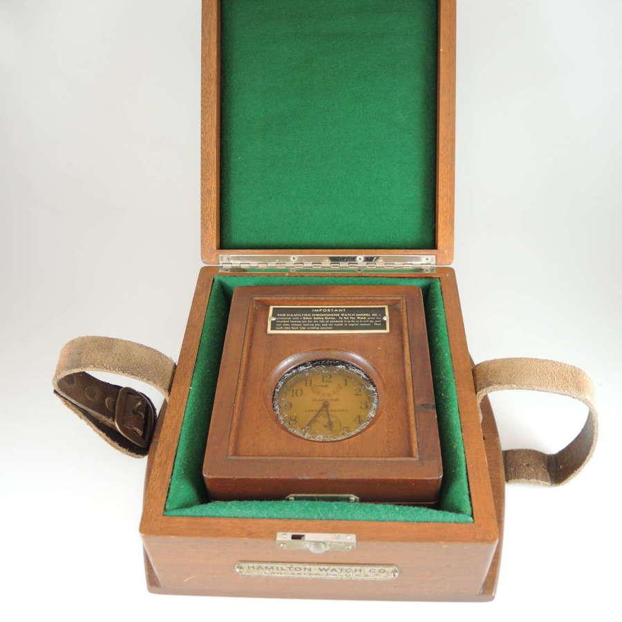 35s Model 22 Hamilton Deck watch w/ original outer boxes c1942