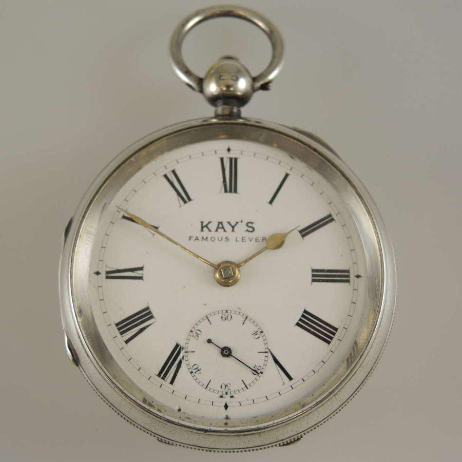 Victorian English silver key wound pocket watch. Kays, Worcester c1900