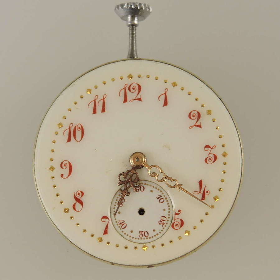 High quality ladies pocket watch movement with a fancy dial c1890