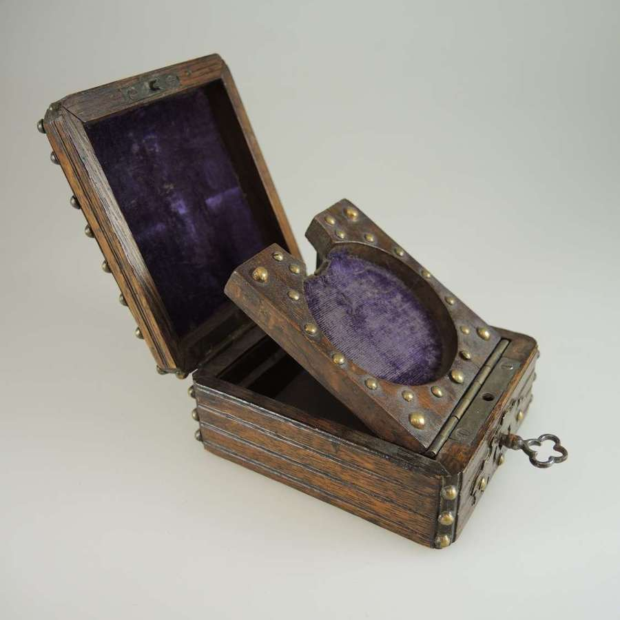 Wooden and studded pocket watch box c1890