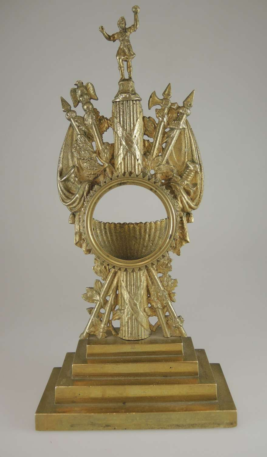 Large Gilt Metal MILITARY Themed pocket watch stand c1830