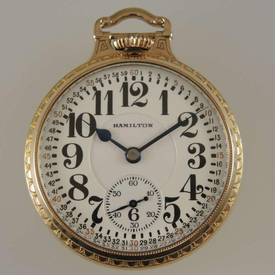 Pristine 16s 23J Hamilton 950 pocket watch c1934