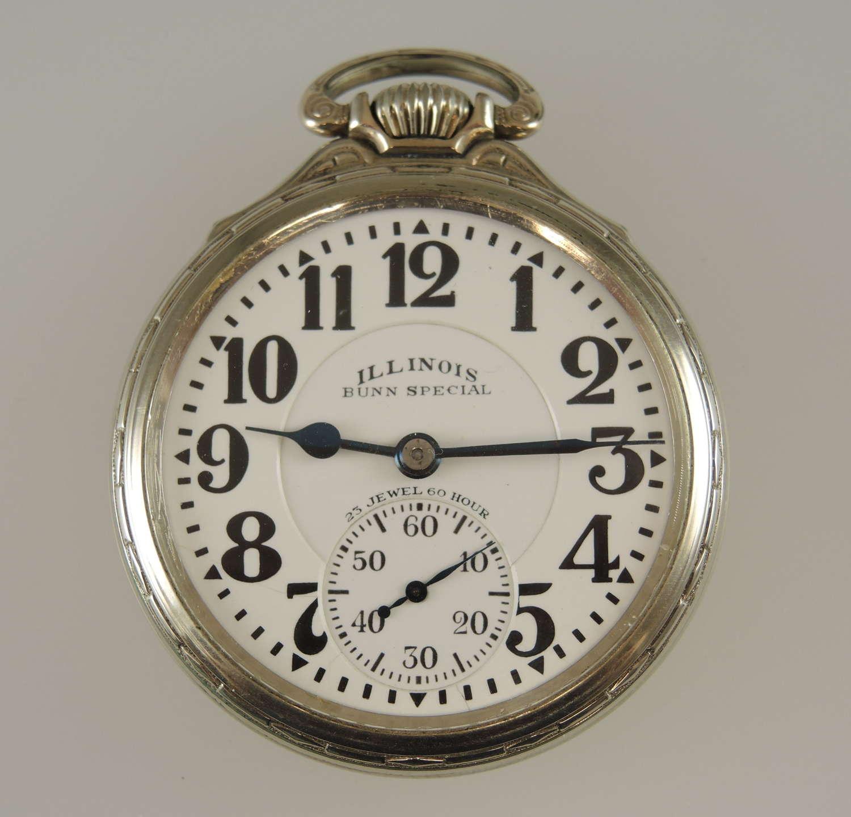 Rare 16s 23J Illinois Bunn Special 60 Hour Mark III pocket watch c1929