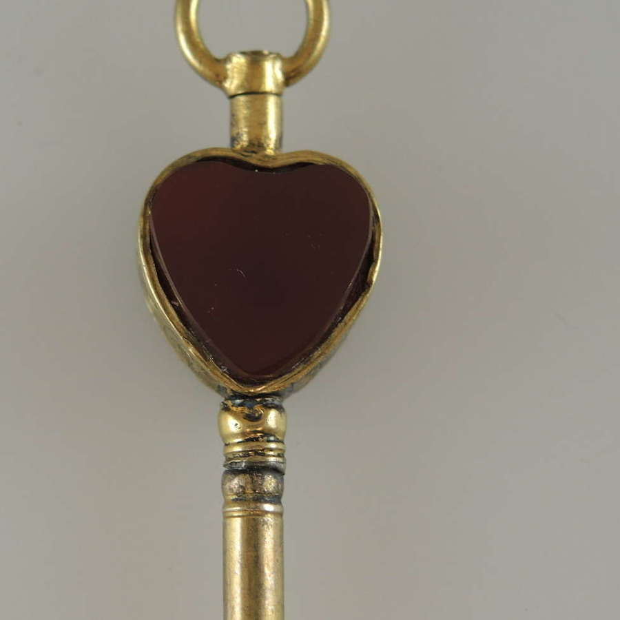 Gold and stone set HEART Shaped pocket watch key c1850