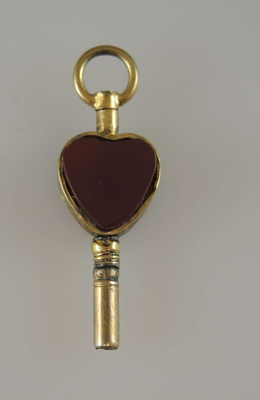 Gold and stone set HEART Shaped pocket watch key c1850