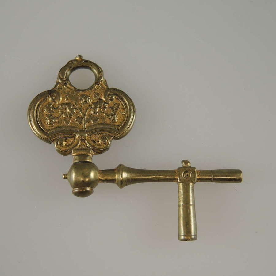 Early crank pocket watch key c1750