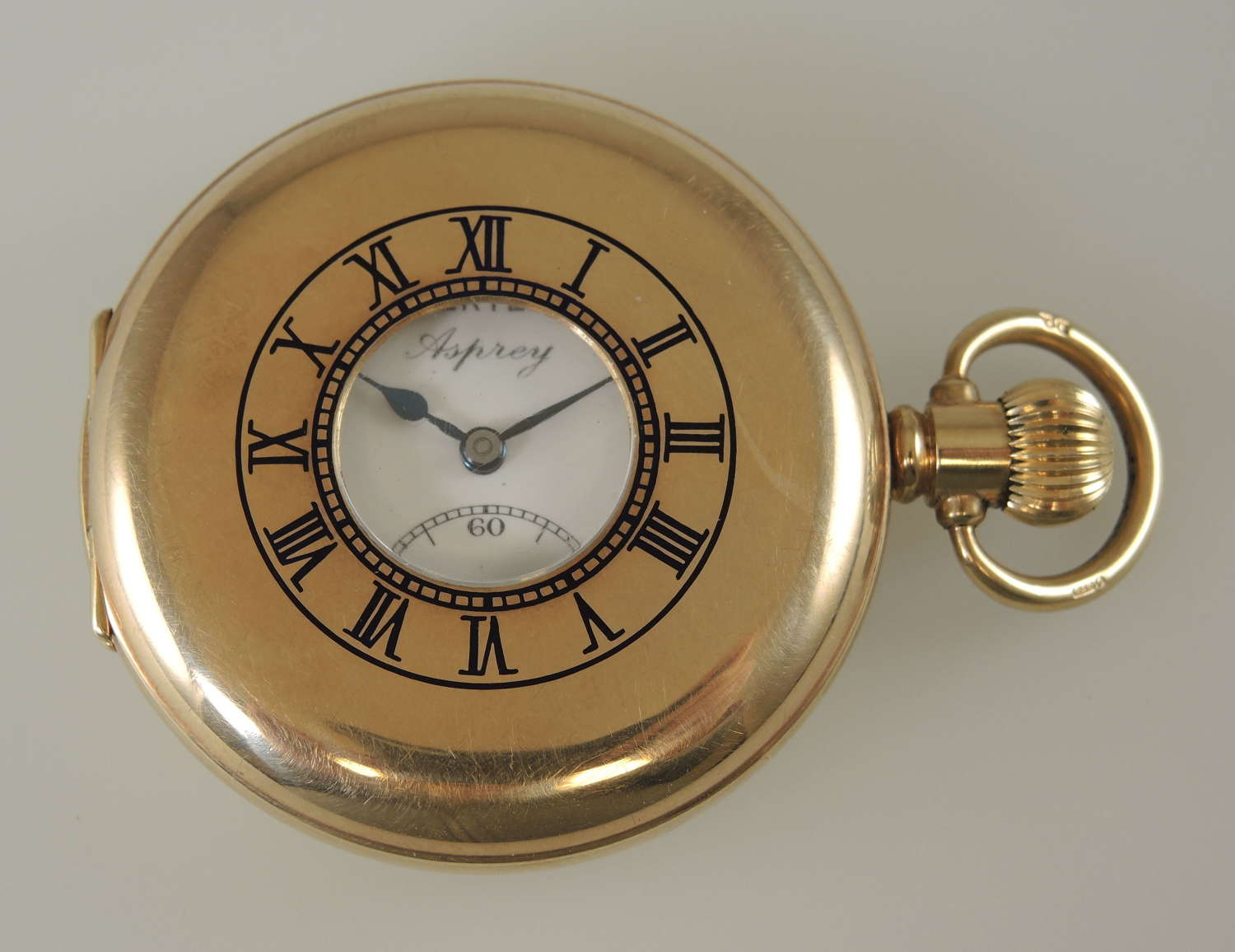 Solid 9K Gold Half Hunter retailed by Asprey 1956