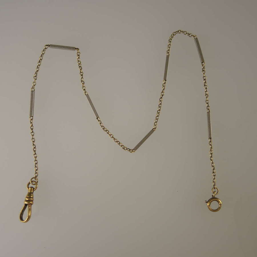Solid 14K Gold TWO TONE Watch chain c1930