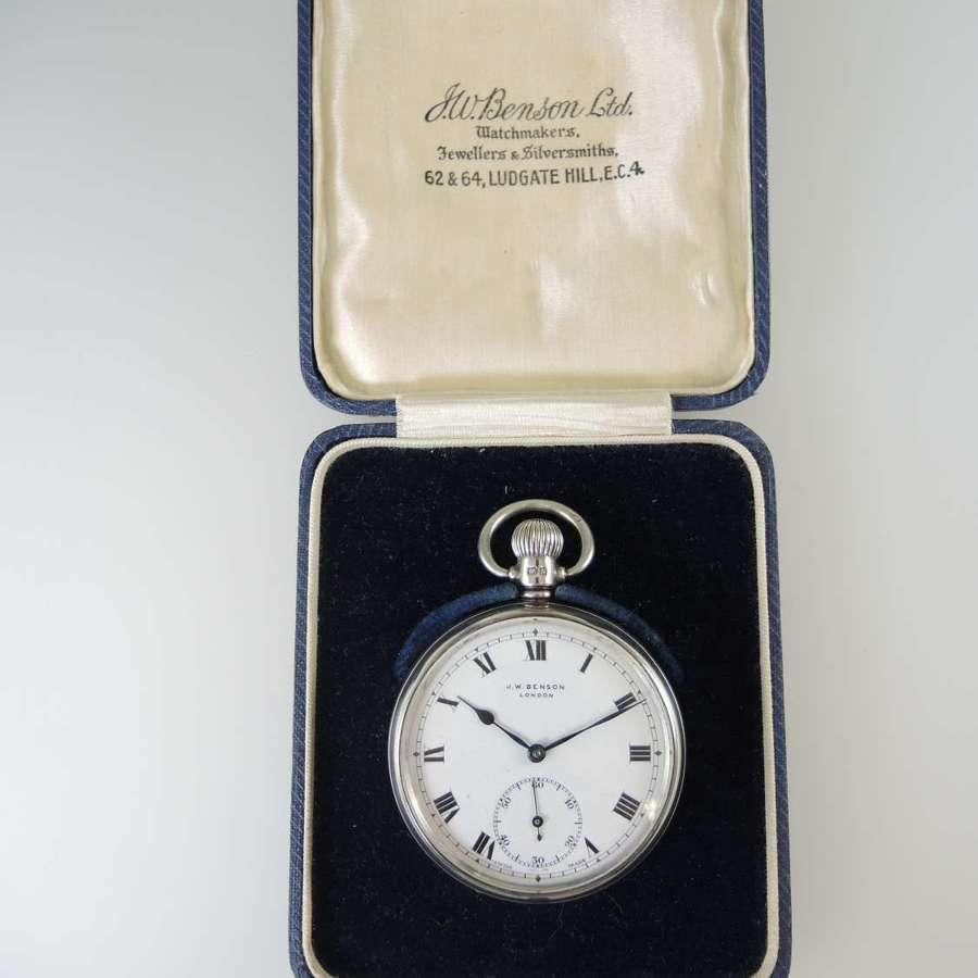 English Silver J W Benson pocket watch with original box c1937