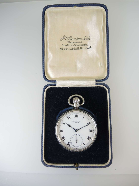 English Silver J W Benson pocket watch with original box c1937
