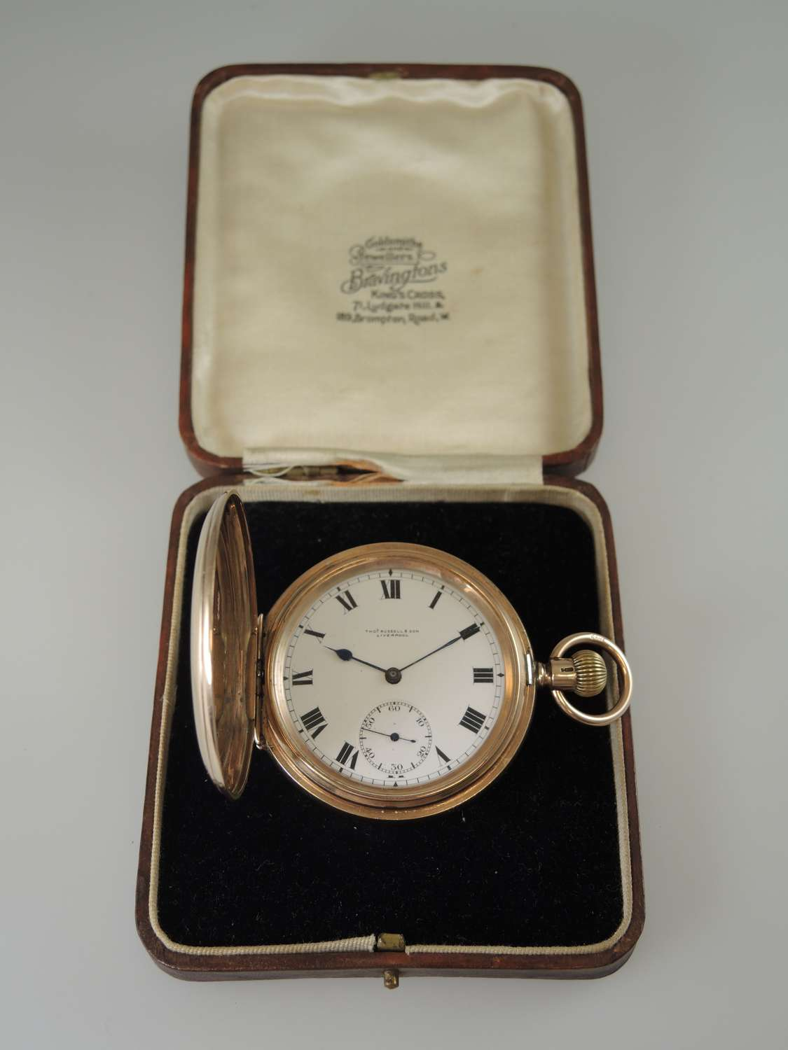 English 9K Gold Full Hunter pocket watch by Thos Russell c1917