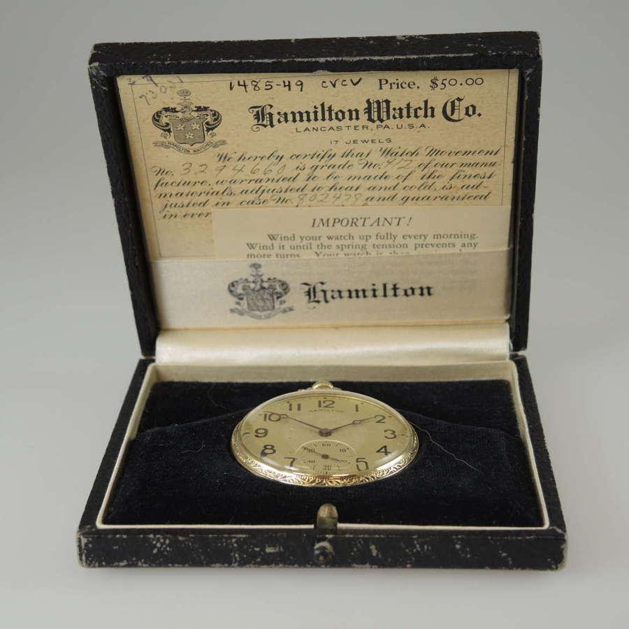 Hamilton pocket watch with original box & papers c1928