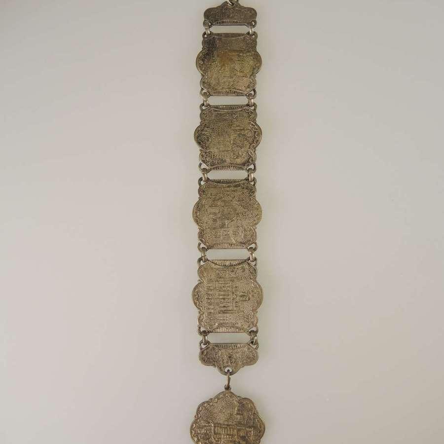 Unusual Souvenir Watch Chain / Chatelaine . bracelet c1900