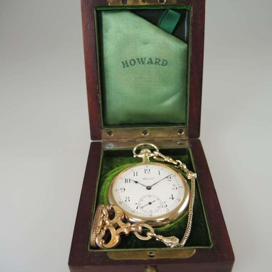 E. Howard Watch Co pocket watch with original box & chain c1911