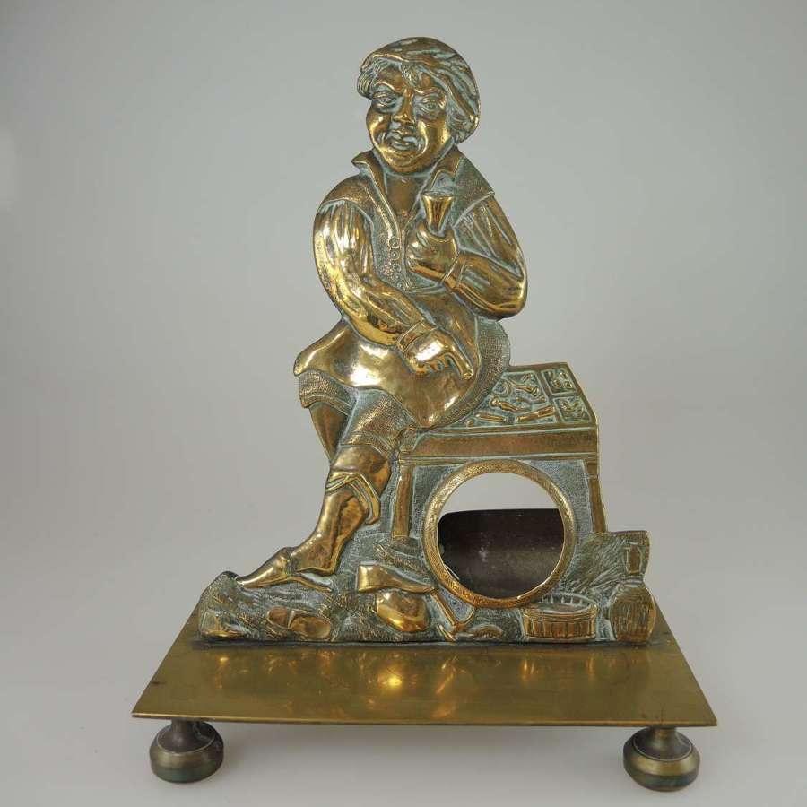 Unusual Brass Figure pocket watch stand c1870