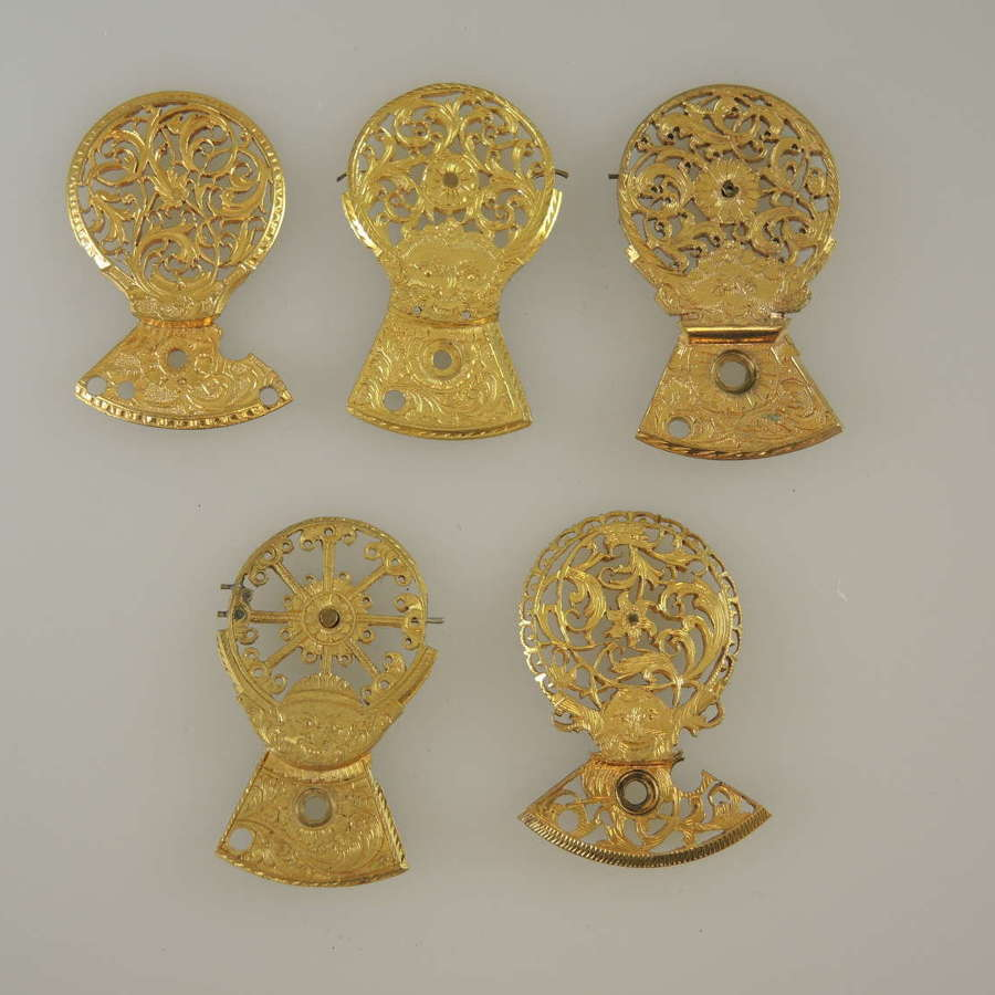 Lot of 5 good examples of verge watch cocks c1750-1830
