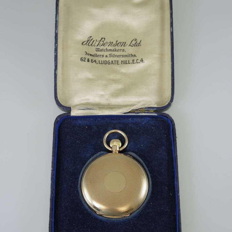 English 9K Gold J W Benson Hunter with Original Box 1924