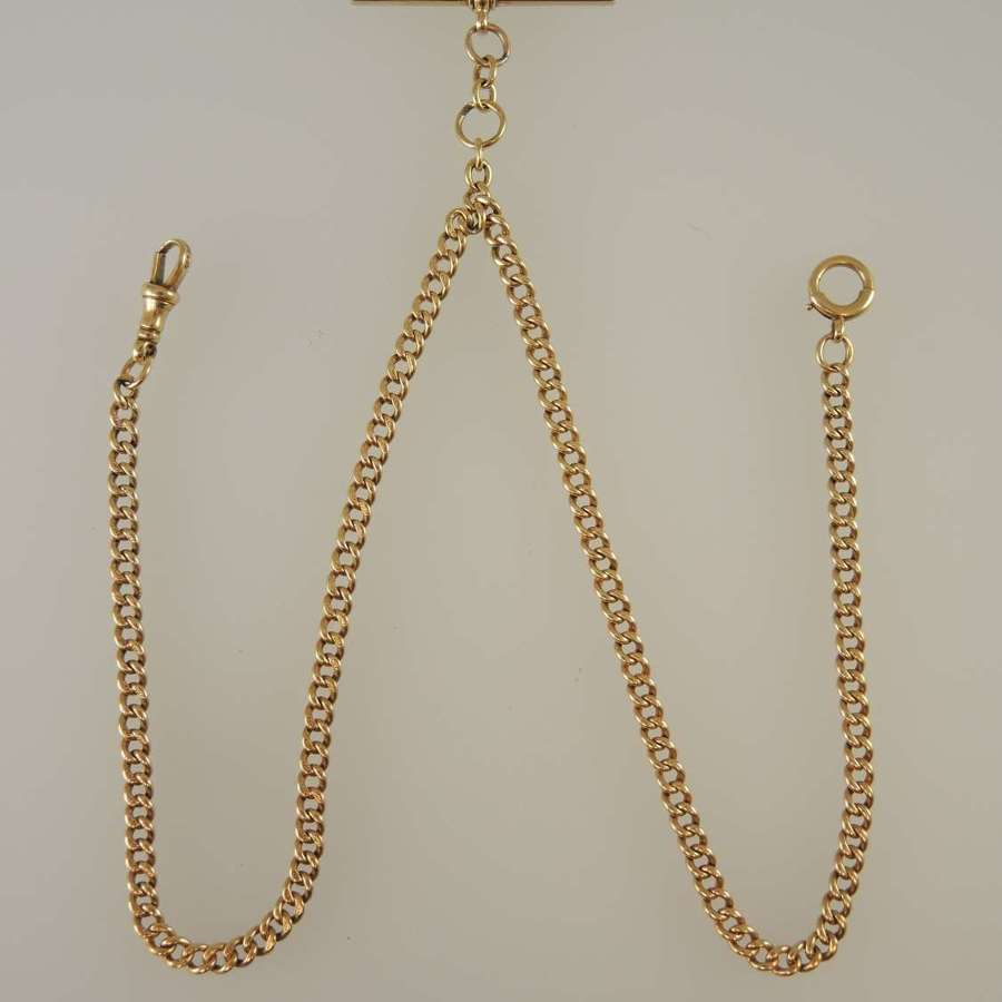 Solid 18K Gold pocket watch chain. Double. 420mm. c1900