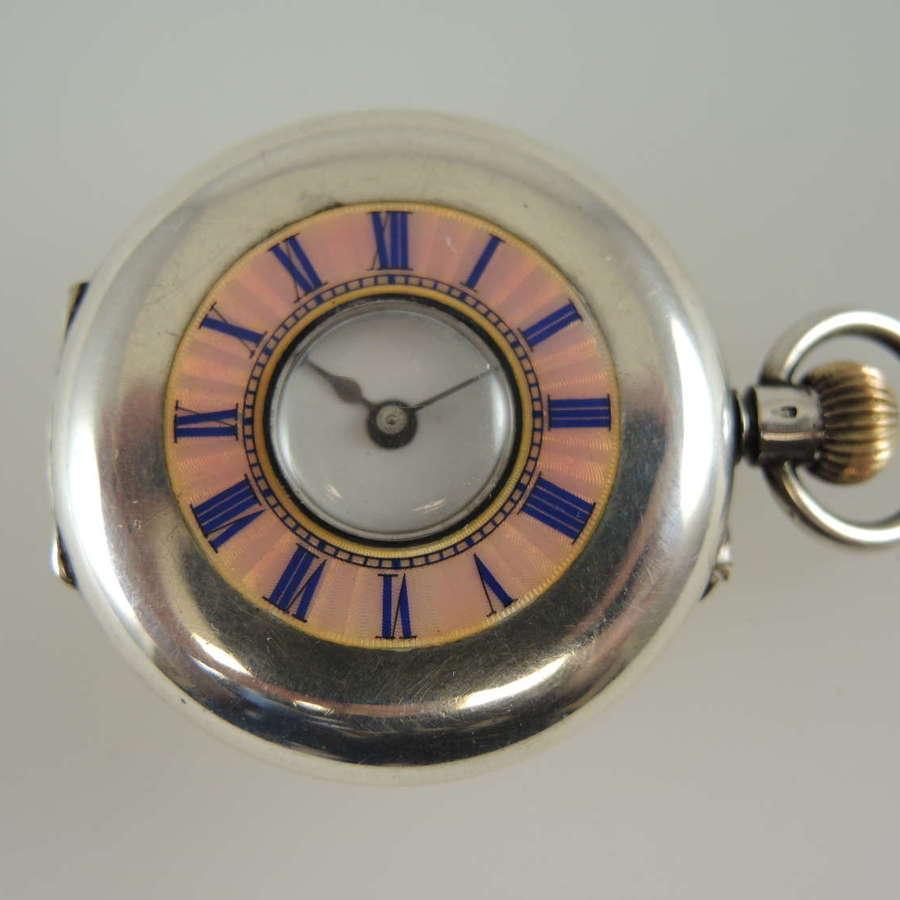 Ladies silver and pink enamel Half Hunter pocket watch c1890