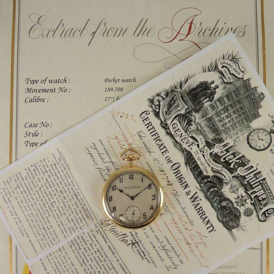 Genuine 18K Gold Patek Philippe with Original Box and papers c1921