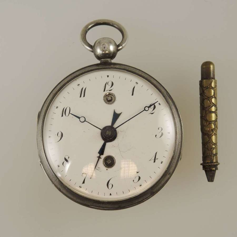 Silver French verge pocket watch with alarm function c1810